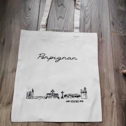 Sac tote bag avec la ville de Perpignan