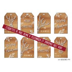 planche d'étiquettes de Noël avec un Renne