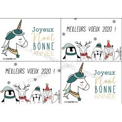 planche de cartes de voeux avec animaux mignons